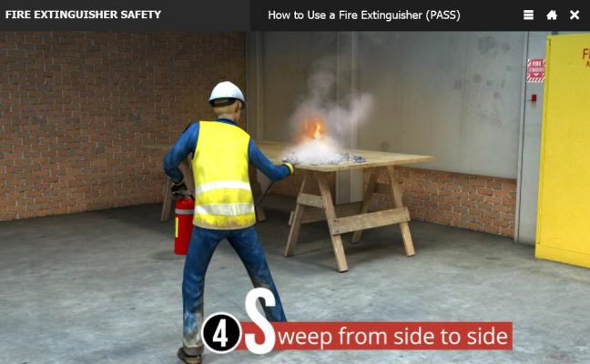 How to Use a Fire Extinguisher PASS Method Step 4 Sweep Image