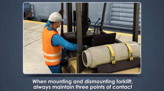 Mounting and Dismounting a Forklift