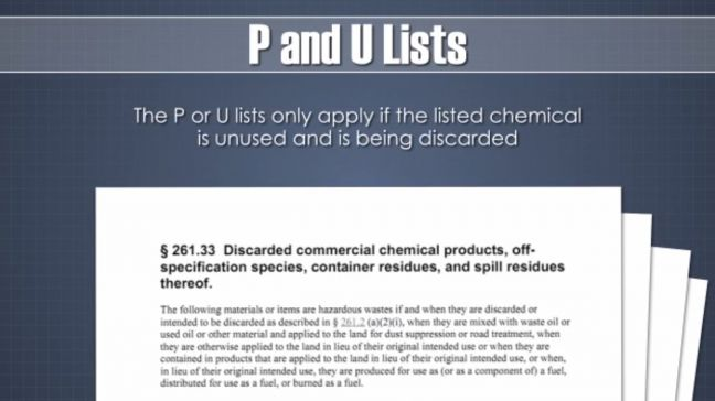 RCRA Hazardous Waste P and U List