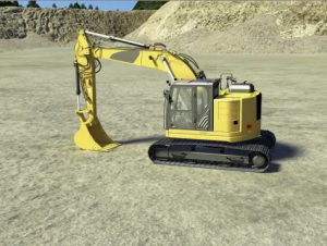 Image of a backhoe at a surface mine