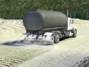 Image of a water truck at a surface mine