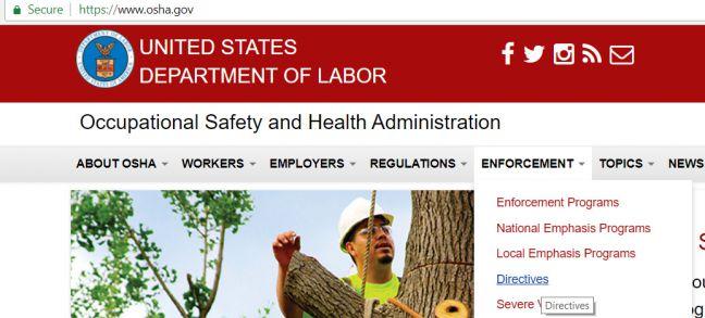 OSHA Directives Webpage Image