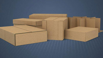 Assembled corrugated boxes - screenshot from Convergence course