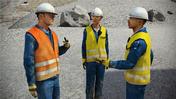 Group of industrial employees communicating - screenshot from Convergence Video