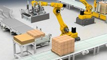 Robotic equipment in a manufacturing facility - screenshot from Convergence course
