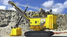 Mining equipment, large backhoe - screenshot from Convergence Video