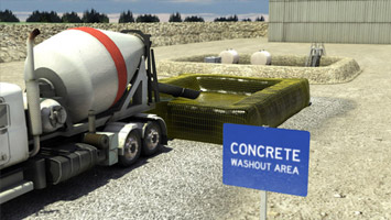Cement mixer backing up to runoff controlled site - screenshot from Convergence video